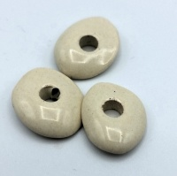6 x Greek ceramic beads flat donught 15x8mm - cream